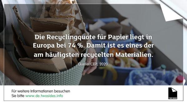 Themenschwerpunkt 5 der Two Sides Trend Tracker-Umfrage – Ergebnisse zeigen: Verbraucher schätzen die hohe Recyclingrate von Papier oft falsch ein
